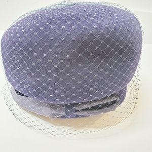 Vtg Union Made Navy Blue Pillbox Style Netted Hat